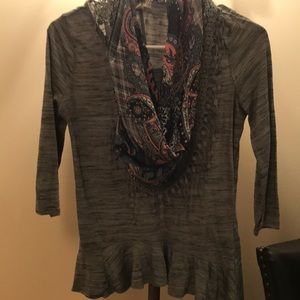Green ruffled shirt with attached scarf